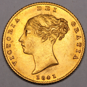 1841 Victoria Half Sovereign NGC - Mint state 61