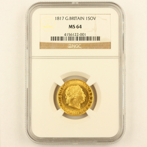 1817 George III Sovereign Brilliant Uncirculated Grade. NGC MS64