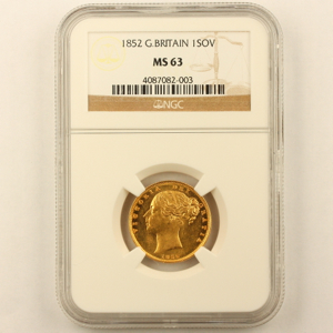 1852 Victoria Sovereign Uncirculated Grade. NGC Mint State 63