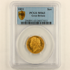 1821 George IV Sovereign Uncirculated Grade. PCGS Mint State 63