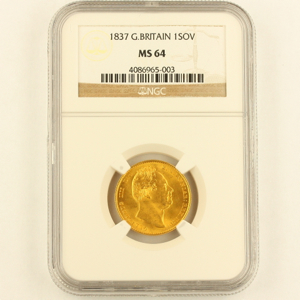 1837 William IV Sovereign Uncirculated Grade. NGC Mint State 64