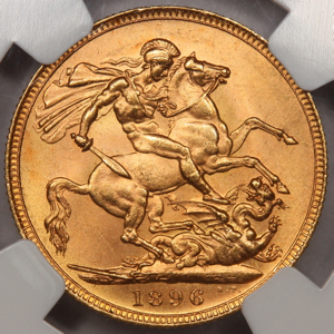 1896 Victoria Old Head Sovereign Uncirculated Grade. NGC Mint State 64