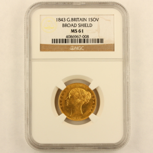 1843 Victoria Sovereign NGC - Mint State 61