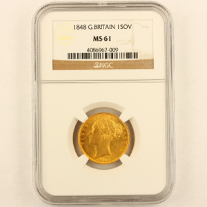 1848 Victoria Sovereign NGC - Mint State 61