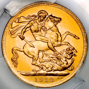 1912 George V Sovereign Brilliant Uncirculated Grade. NGC - MS65