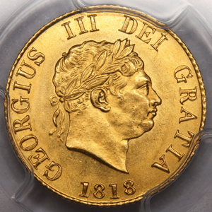 1818 George III Half Sovereign Uncirculated Grade. PCGS - MS63