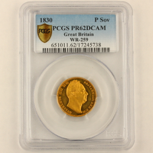 1830 William IV Proof Sovereign PCGS - Proof 62