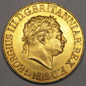 1818 George III sovereign Practically Uncirculated Grade