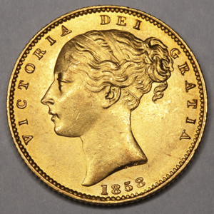 1858 Victoria Sovereign Uncirculated Grade. PCGS - MS63
