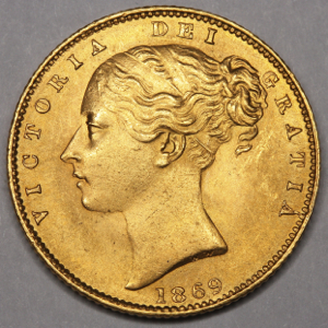 1869 Victoria Sovereign Brilliant Uncirculated. PCGS - MS65