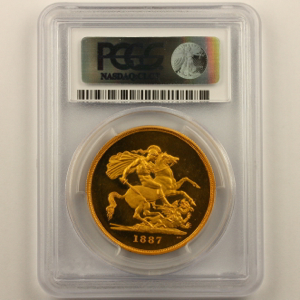 1887 Victoria Five Pounds Uncirculated. PCGS - PR63+