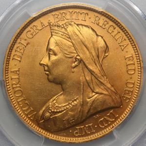 1893 Victoria Old Head £5 Uncirculated Grade. PCGS - MS63