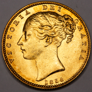 1854 Victoria Sovereign Uncirculated Grade. PCGS - MS63