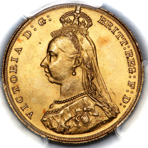 1887 Victoria Jubilee Head Sovereign Choice Uncirculated. PCGS - MS64