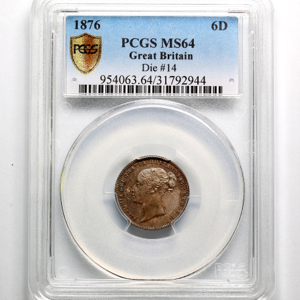 1876 Victoria Sixpence Choice Uncirculated. PCGS - MS64