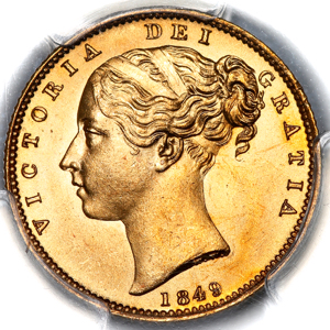 1849 Victoria Sovereign PCGS - MS65