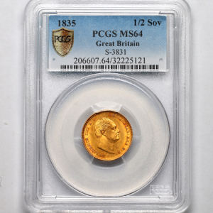1835 William IV Half Sovereign Choice Uncirculated. PCGS - MS64
