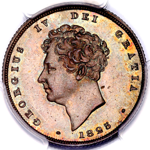 1825 George IV Shilling Brilliant Uncirculated. PCGS - MS65