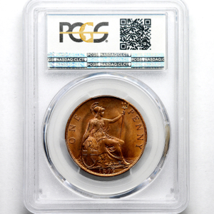 1896 Victoria Old Head Penny PCGS - MS65 RD