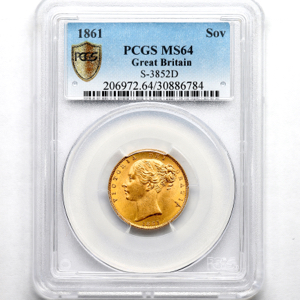 1861 Victoria Sovereign PCGS - MS64