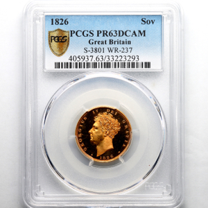 1826 George IV Proof Sovereign PCGS - PR63 DCAM
