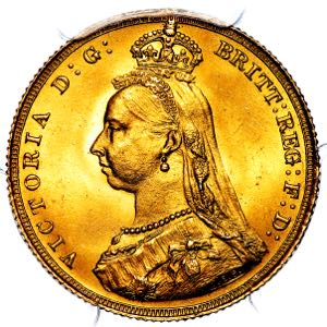1887 Victoria Jubilee Head Sovereign Brilliant Uncirculated. PCGS - MS65