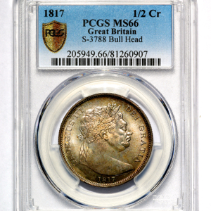 1817 George III Halfcrown Practically FDC. PCGS - MS66