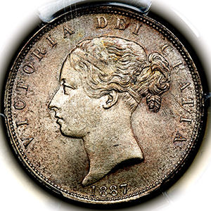 1887 Victoria Young Head Halfcrown Choice Uncirculated. PCGS - MS64