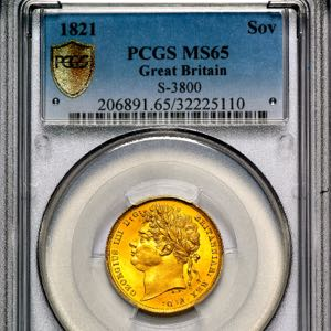 1821 George IV Sovereign Brilliant uncirculated. PCGS - MS65