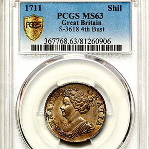 1711 Anne Shilling Uncirculated grade. PCGS - MS63