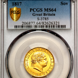 1817 George III Sovereign Choice uncirculated grade. PCGS - MS64