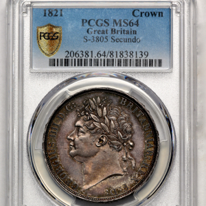 1821 George IV Crown Choice uncirculated grade. PCGS - MS64