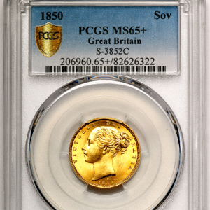 1850 Victoria Sovereign PCGS - MS65+