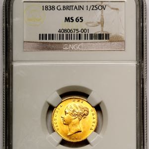 1838 Victoria Half Sovereign NGC - MS65