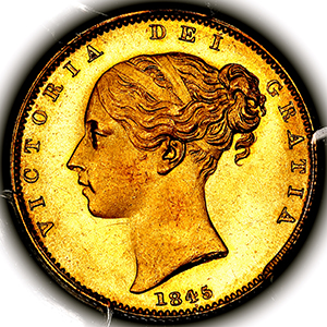 1845 Victoria Sovereign Choice Uncirculated. PCGS - MS64+