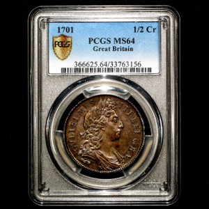 1701 William III Halfcrown Choice uncirculated. PCGS - MS64