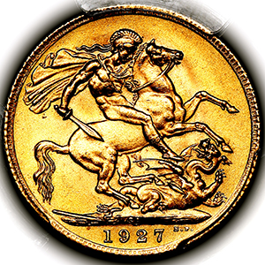 1927 George V Sovereign Practically FDC. PCGS - MS66