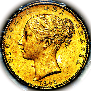 1841 Victoria Sovereign Brilliant Uncirculated. PCGS - MS65