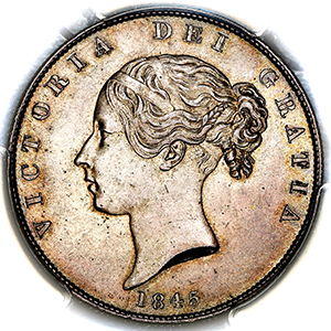 1845 Victoria Young Head Halfcrown Uncirculated. PCGS - MS63