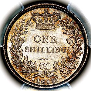 1843 Victoria Shilling Brilliant Uncirculated. PCGS - MS65
