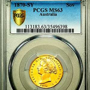 1870 Australian Sovereign Uncirculated. PCGS - MS63