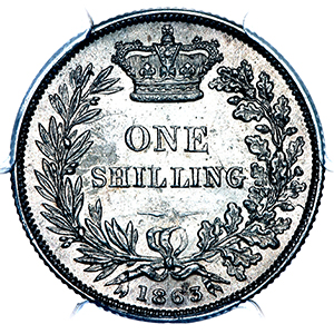 1863 Victoria Shilling Choice Uncirculated. PCGS - MS64
