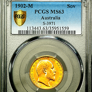 1902 Edward VII Sovereign Uncirculated grade. PCGS - MS63