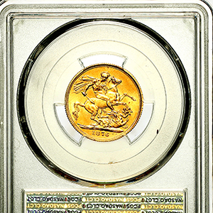 1876 Victoria Sovereign Uncirculated grade. PCGS - MS63