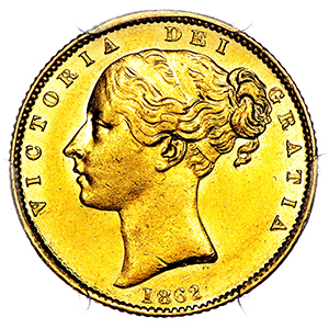 1862 Victoria Sovereign PCGS - AU58
