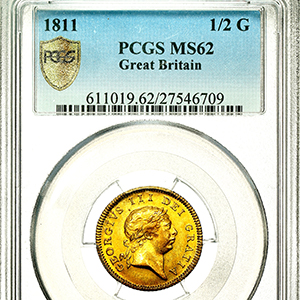 1811 George III Half Guinea Practically uncirculated. PCGS - MS62