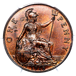 1918 George V Penny Brilliant Uncirculated. PCGS - MS65BN
