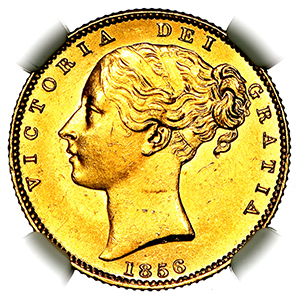 1856 Victoria Sovereign Uncirculated grade. PCGS - MS63+