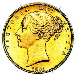 1862 Victoria Sovereign Uncirculated grade. PCGS - Mint State 63