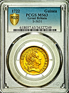 1722 George I Guinea Uncirculated grade. PCGS - Mint State 63